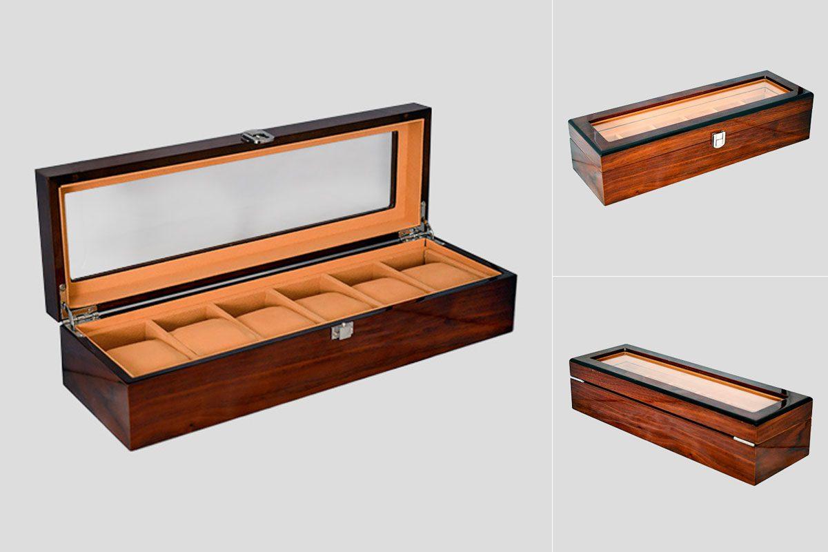 Caja organizadora de madera para 6 relojes