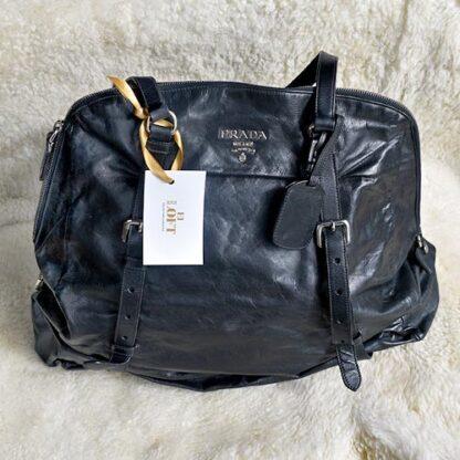 Prada Bolsa Cuero Negro