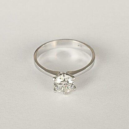 Anillo Solitario Diamante Oro Blanco